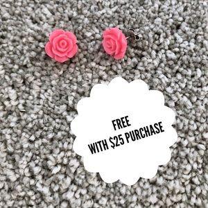 Rose Resin Earrings Titanium Posts Hypoallergenic